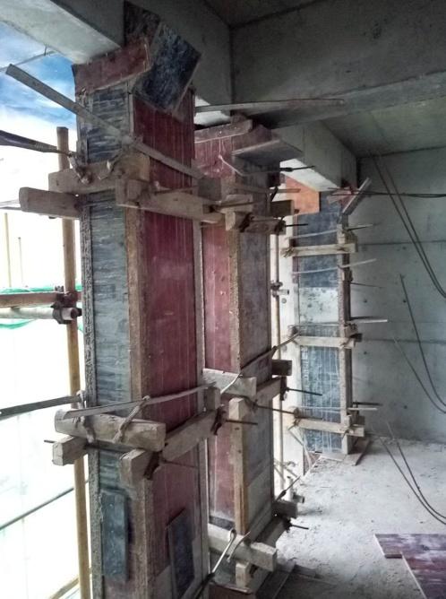二结构反坎模板安装